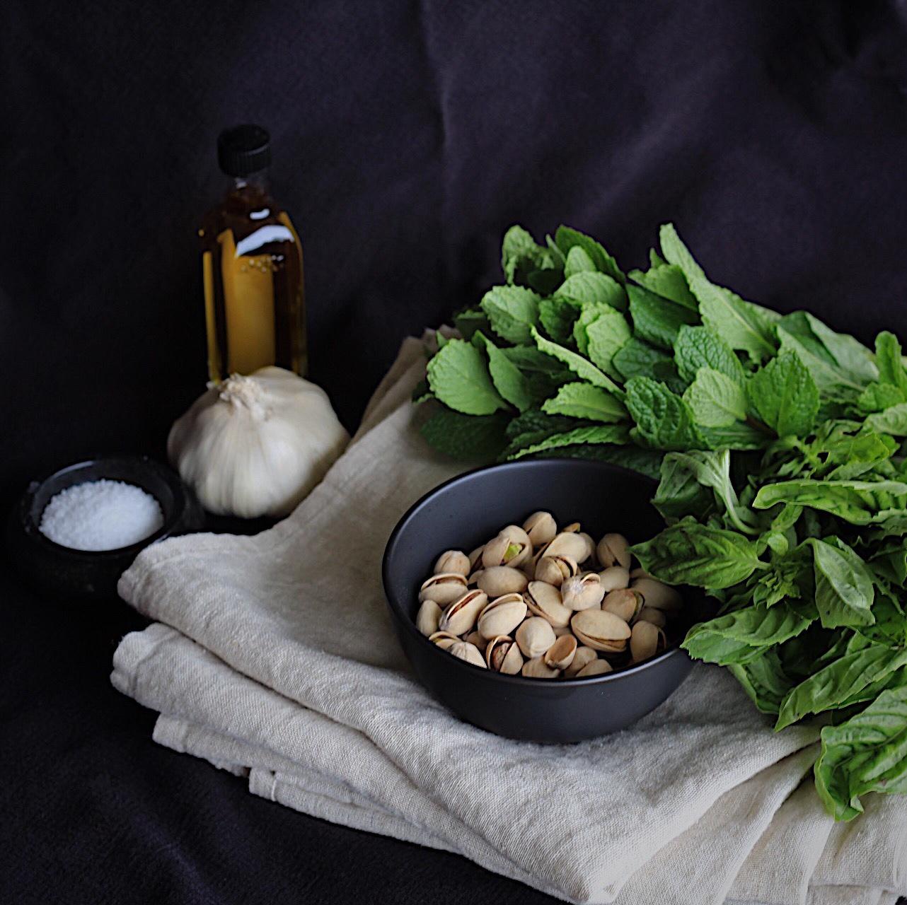 Mint Basil Pistachio Pesto Ingredients