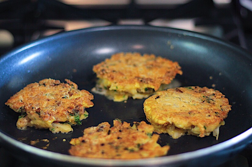 Dungeness Crab Cakes Getting Crispy
