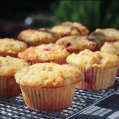 Strawberry Rhubarb Oatmeal Muffins Cooling Outside