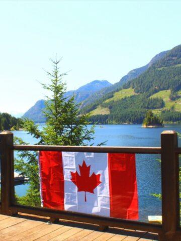 Canada Flag At The Lake