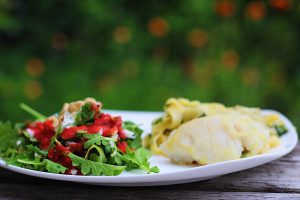 Halibut Cheeks, Pasta, Strawberry Hazelnut Salad for Canada Day