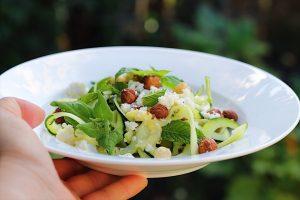 Zucchini Salad With Lemon Dressing, Hazelnuts and Feta