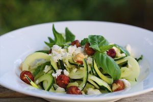Fresh Zoodle Salad With Feta And Hazelnuts
