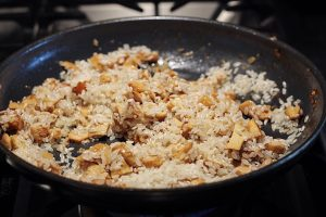 Adding Rice To Aromatics For Risotto