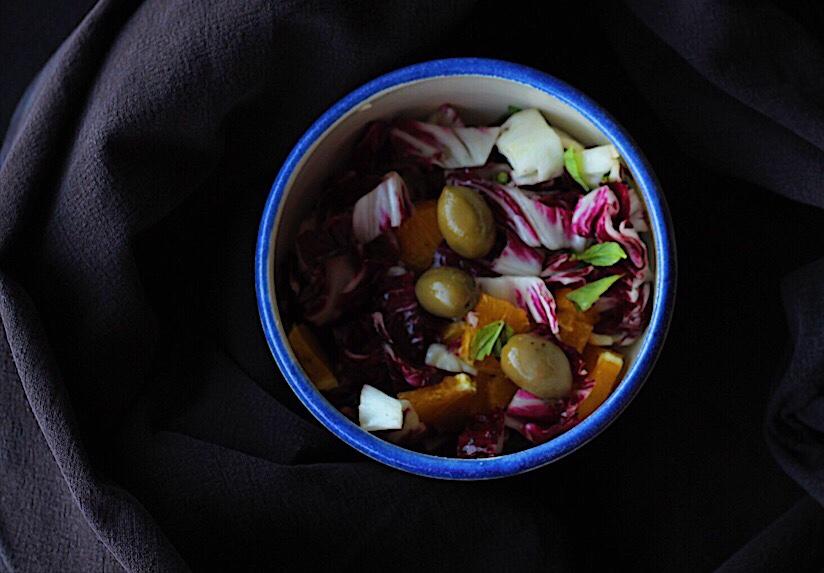 Radicchio Salad with Orange, Basil and Olives