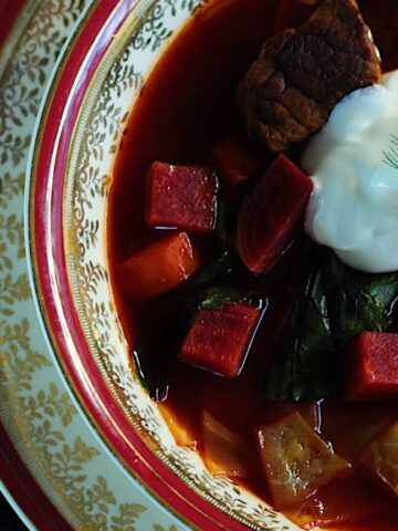 Beet and Beef Borscht With Sour Cream and Dill