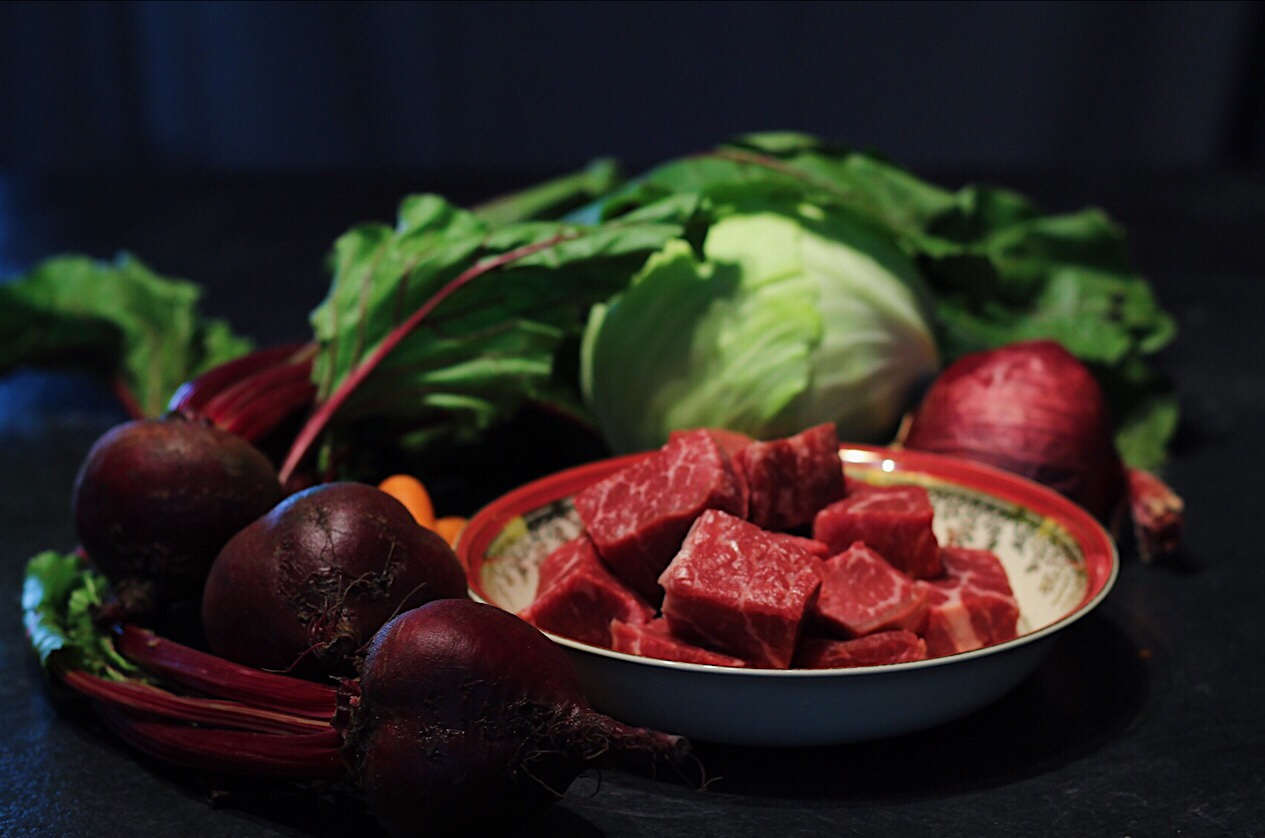 Fresh Local Vegetables And Beef For Borscht Soup
