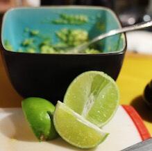 Fresh avocado and lime guacamole