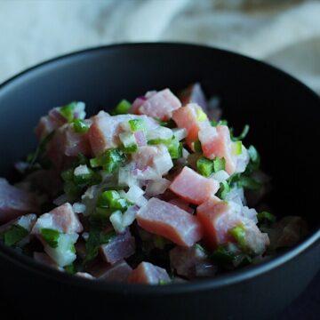Healthy and delicious albacore tuna ceviche