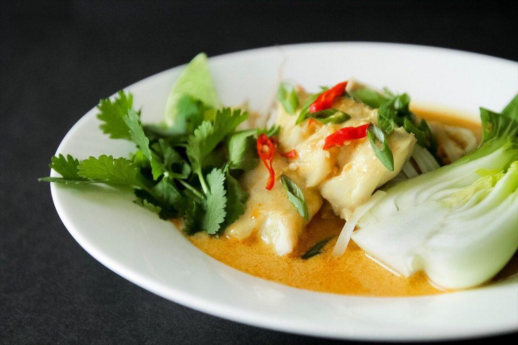Fresh veggies, seafood and coconut Laksa (curry)