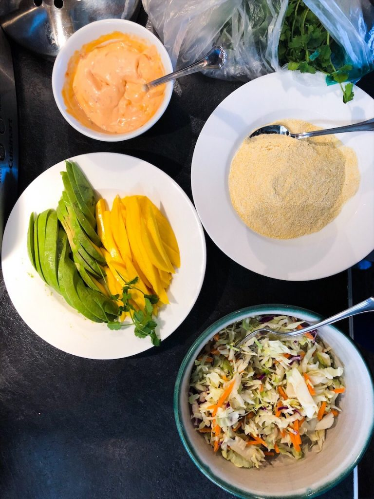 Healthy Cabbage Slaw Mango And Avocado For Mexican Style Fish Tacos