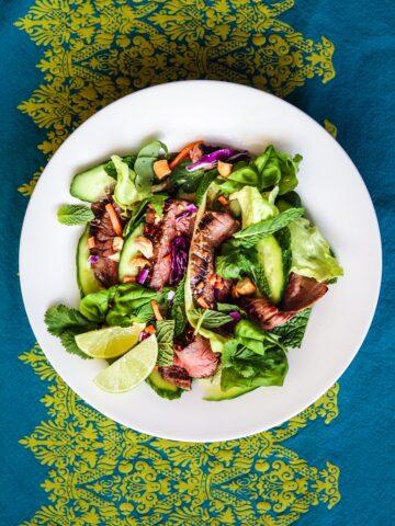 Thai Salad With Flank Steak, Basil, Mint and Cilantro