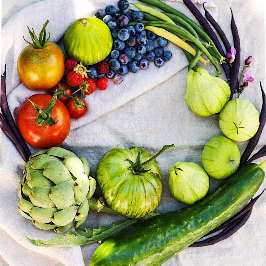 Produce Wreath Of Seasonal Fruits And Veggies