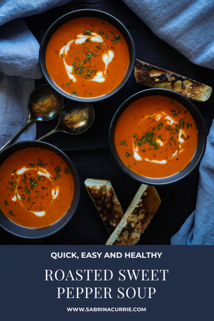Roasted Red Pepper Soup with Sardo Fire Roasted Sweet Peppers- Fast, Vegetarian, Healthy