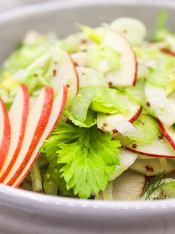 Quick And Easy Apple Fennel Celery Salad With Grainy Mustard Dressing