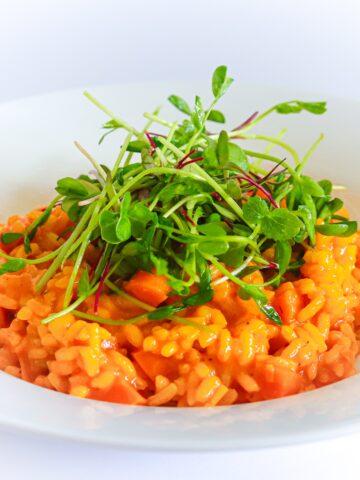 Vegetarian Risotto Recipe With Chard and Radish Microgreens