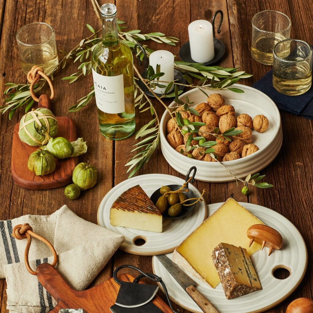 Stoneware platters and bowls and iron serving dishes from West Coast Kitchen Garden