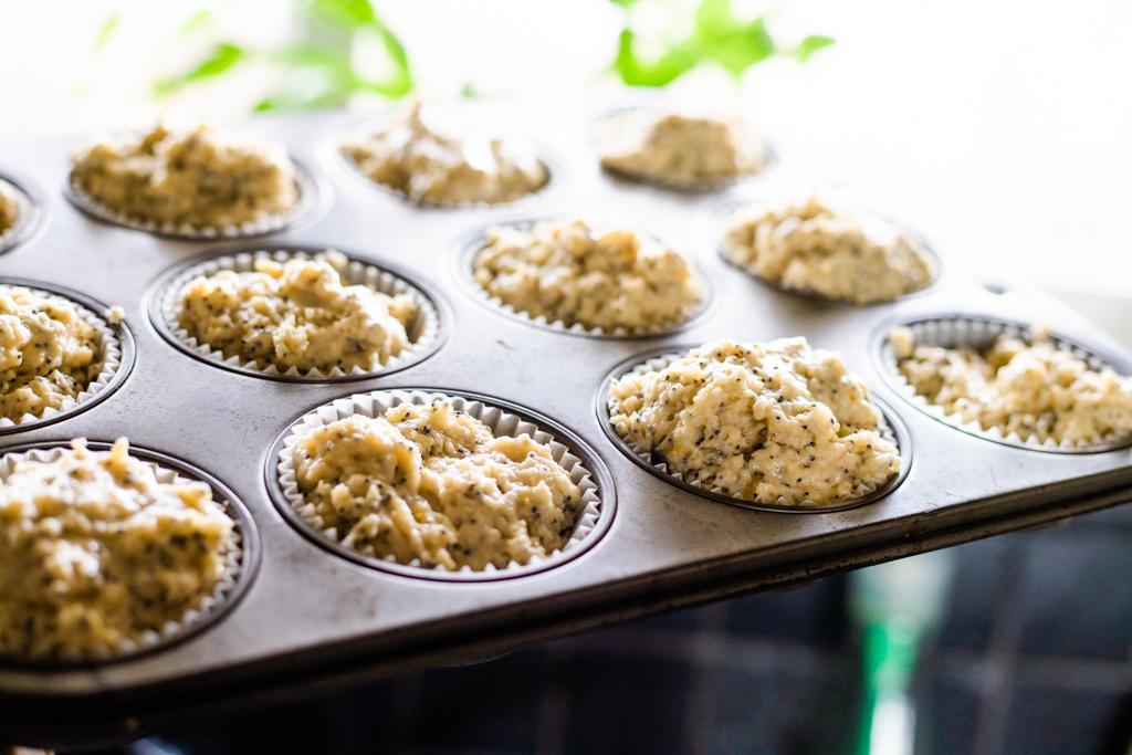 Lemon Muffin Batter In Muffin Tins