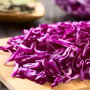Uniformly chopped red cabbage for sauerkraut