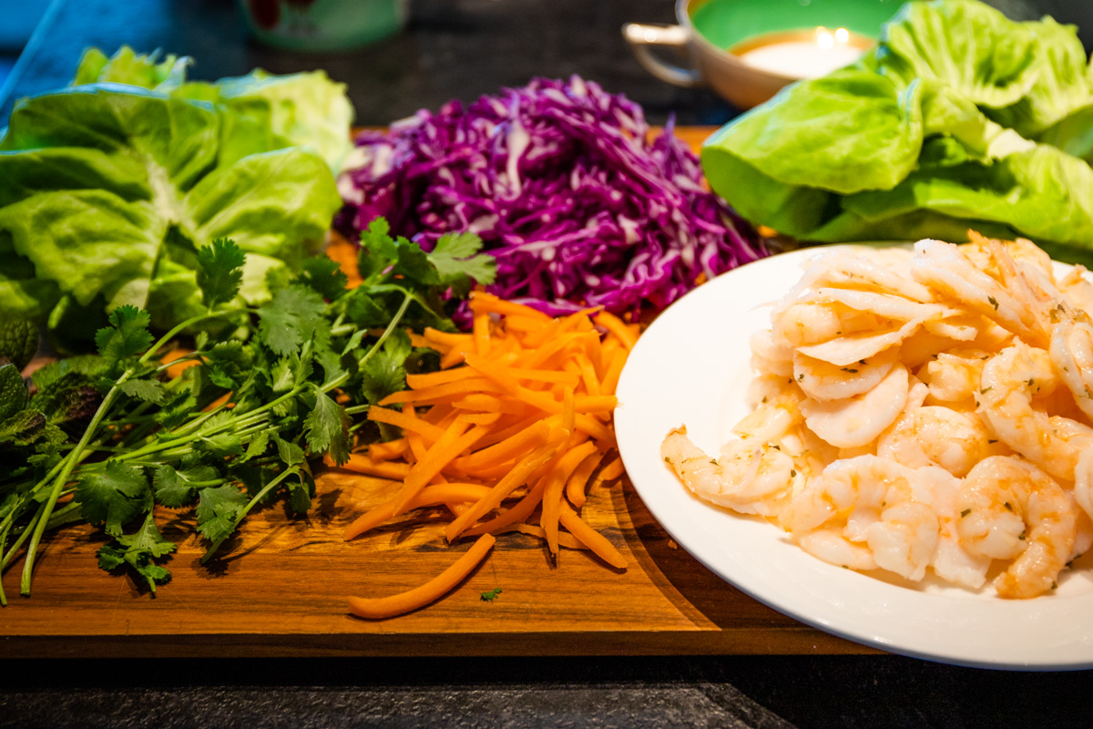 Get everyone to make their own salad rolls with healthy ingredients