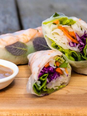 Shrimp Salad Rolls with Peanut Dipping Sauce