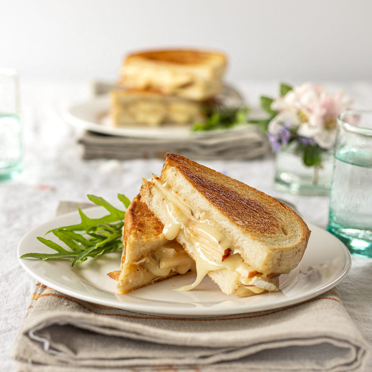 Brie and apple grilled cheese sandwiches are melty and delicious