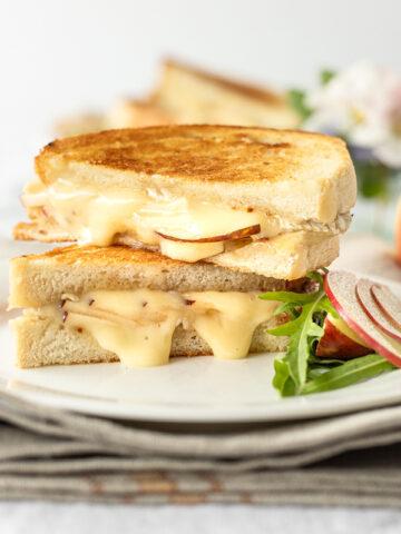 Brie and Apple Grilled Cheese with Hot Honey Butter