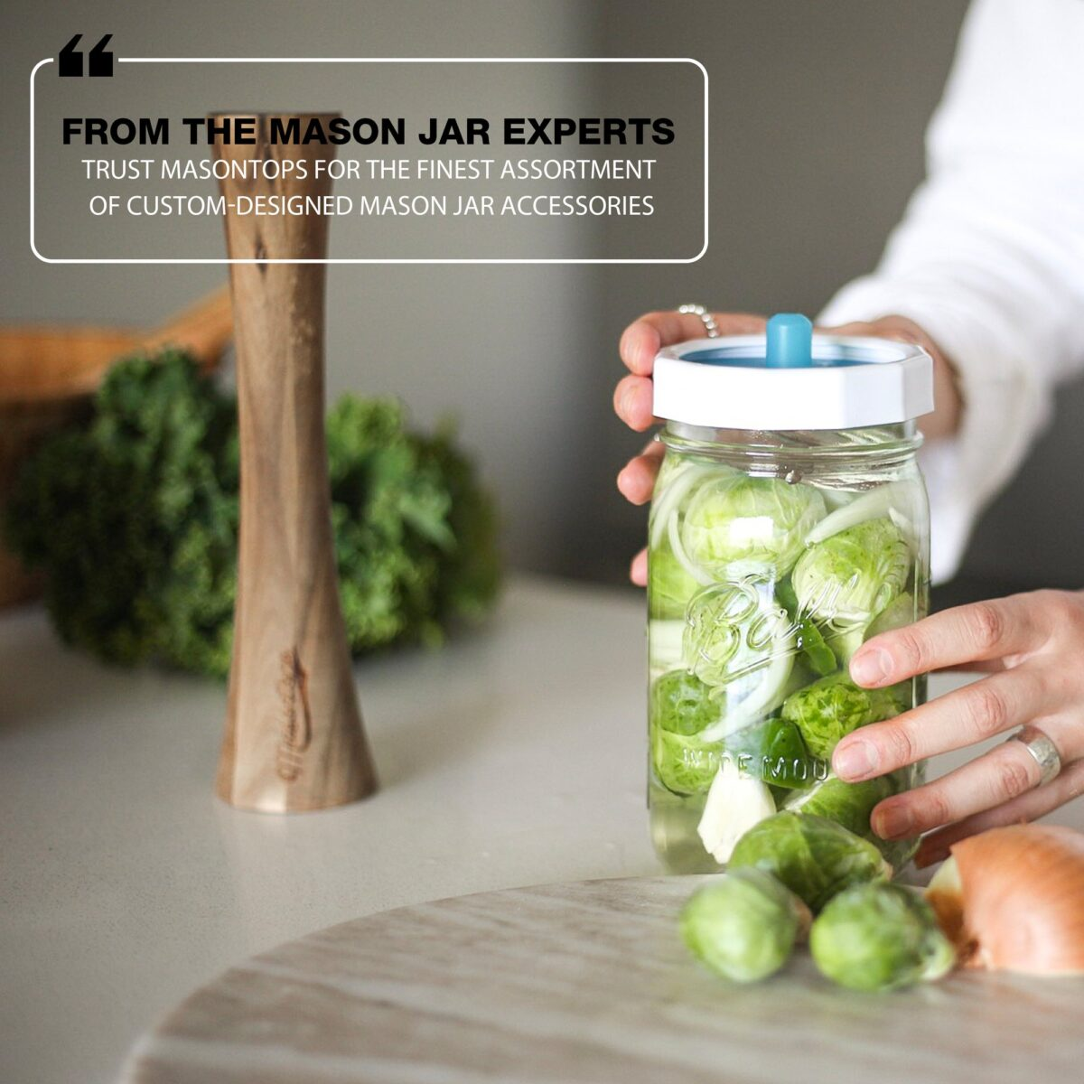 Pickling and fermenting is easy with these simple silicone air locks on mason jars