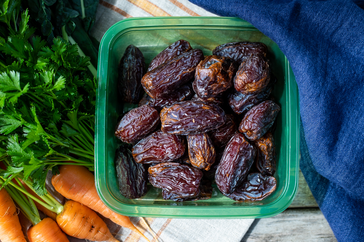 Fresh medjool dates from Natural Delights are plump and come in recycleable green plastic box